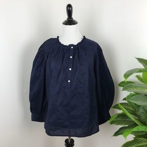 NWT gap balloon sleeve popover blouse in navy